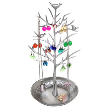 Pewter Metal Decorative Jewelry Tree / Necklace Hanger / Earring Organizer by MyGift®