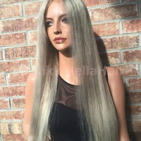 "Medium Ash Blond Hayden 26"" Human Hair Multi Parting Full lace wig"