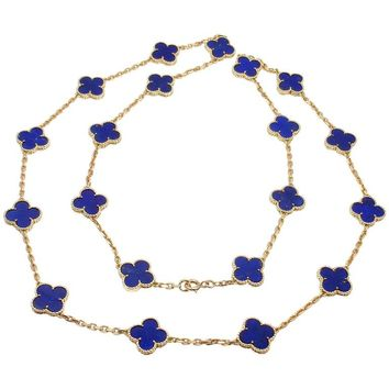 Van Cleef & Arpels Vintage Alhambra Lapis Lazuli 20 Motif Yellow Gold Necklace
