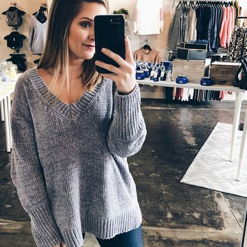 I Need You Chenille Sweater - Grey