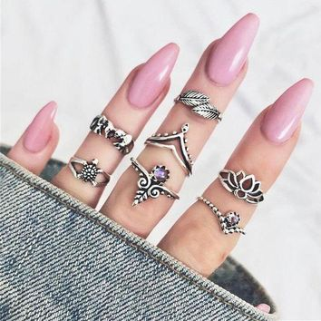 ONETOW 7 Pcs Retro Leaf Elephant Turtle Mid Finger Knuckle Ring Set Women Fashion Jewelry