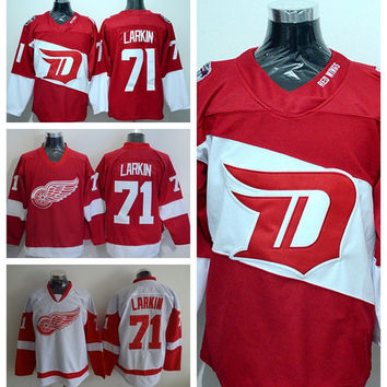 Detroit Red Wings 71 Dylan Larkin Jersey Stadium Series Red Ice Hockey Jerseys Sports Team Color White Embroider Logos
