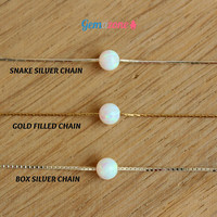 6MM Dot Opal Chocker Necklace / White Lab Opal Ball Single Bead Necklace / Gold Filled or Sterling Silver / Dainty Charm Necklace