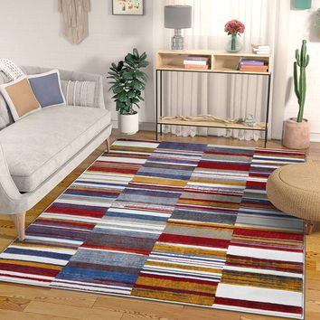 7046 Red Blue Multi Abstract Contemporary Area Rugs