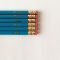 Let it go engraved aqua pencil set of six.