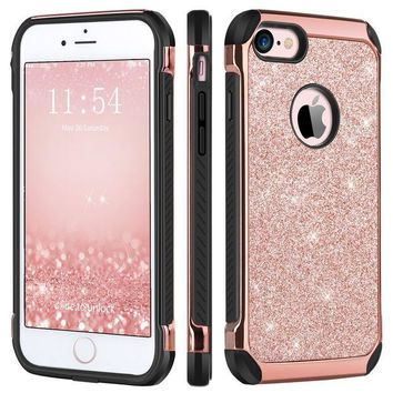 LMFIX5 iPhone 6 Plus Case,iPhone 6S Plus Case,BENTOBEN Sparkly Glitter 2 in 1 Hard PC Laminated with Shiny Faux Leather Soft TPU Bumper Shockproof Protective Case for iPhone 6S Plus/6 Plus 5.5 Inch,Rose Gold