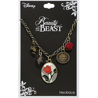 Disney Beauty And The Beast Enchanted Rose Multi Charm Necklace