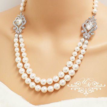 Wedding Jewelry Double Strands Swarovski Pearl Necklace Bridal Necklace Bridesmaids Necklace Backdrop Necklace Rhinestone Necklace - NIKI