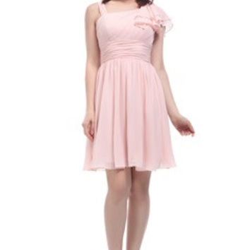 Frill Asymmetrical Shoulder Pastel Pink Dress