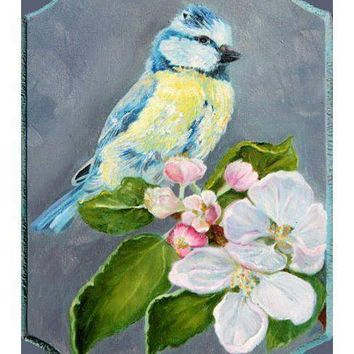 Chickadee Bird on Cherry Branch Folk Art Scenic Landscape Oil Painting