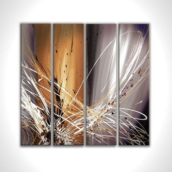 Abstract artwork - Gray oil painting - Gray abstract painting - Brown white - Modern canvas art  - Stretched canvas oil painting