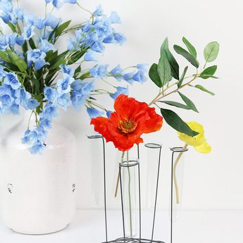 """Metal Focal Plant Stand with Glass Tube Vases - 10.25"""" Tall x 7.5"""" Wide"""
