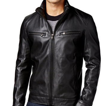 Men's Perforated Faux-Leather Moto Jacket