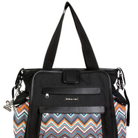 Black / Safari Zigzag Nola Tote Diaper Bag