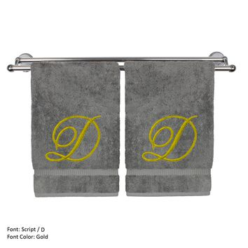 Monogrammed Hand Towel, Personalized Gift, 16 x 30 Inches - Set of 2 - Gold Embroidered Towel - Extra Absorbent 100% Turkish Cotton - Soft Terry Finish - For Bathroom, Kitchen and Spa - Script D Gray