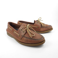 Brown Boat Shoes Vintage 1990s Sperry Topsiders Tan Leather Lace up Distressed men's size 9