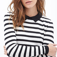 FOREVER 21 Collared Stripe Sweater