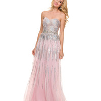 Pink Sequin Strapless Sweetheart Dress 2015 Prom Dresses