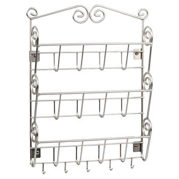 Metal Wall Mount Letter Holder Organizer in Satin Nickle Finish
