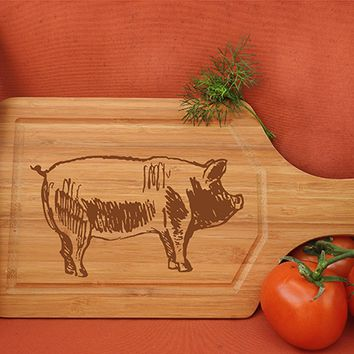 ikb327 Personalized Cutting Board Wood pork pig meat food restaurant