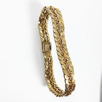 Alice Caviness 12 KGF Bracelet Vintage 1940s 1950s Designer Signed Gold Filled Serpentine Rope Chain Links Golden Estate Jewelry