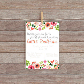 Printable Floral Shower Invitation // Bridal Shower Invitations // Baby Shower Invitations