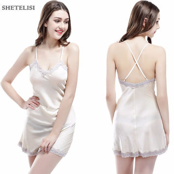 SHETELISI New Solid Color Satin Chiffon Women's Nightgown Slinky Nightdress Sheer Chemise Lace Sleepwear Trim Nightie sp0055