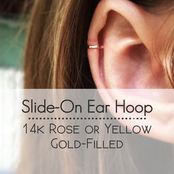 14k Rose Gold or Yellow Gold Filled Ear Cuff - Hammered Faux Cartilage Piercing - Fake Ear Hoop - Faux body jewelry - Ear Hugger