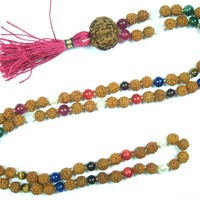 Meditation Rosary Necklace- Rudraksha Beads Nine Planets Navgraha (Navartna) Prayer Mala