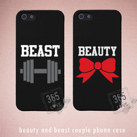 Couples iPhone Case Set - Matching iphone 4 4S 5 5C Galaxy S3 S4 Cases in Black with Beauty and Beast - Romantic Gift