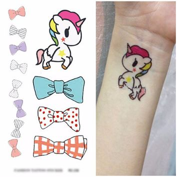 Colorful Unicorn Tattoo Cute 3-D Design Temporary Body Art