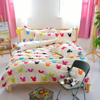 Lovely cartoon mickey mouse comforter bedding sets bed linen 3d duvet cover bed sheet pillowcases Full king Queen size