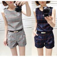 Summer Skinny Slim Plaid Sleeveless Shorts = 4855231044