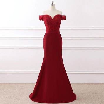 Elegant Burgundy Evening Dresses Long V Neck Lace Appliques Sweep Train Mermaid Evening Party Gowns