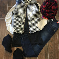 Adonica Vest: Black and White Check