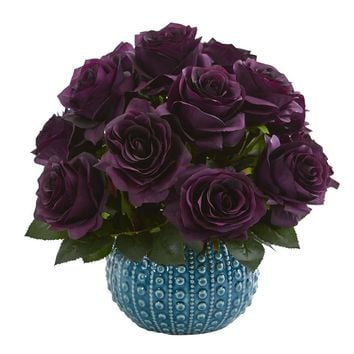 Silk Flowers -11.5 Inch Purple Elegance Rose Arrangement In Blue Ceramic Vase