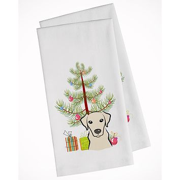Christmas Tree and Yellow Labrador White Kitchen Towel Set of 2 BB1594WTKT