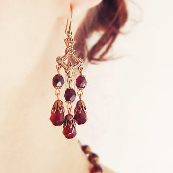 Victorian-Inspired Chandelier Earrings // Handcrafted, Garnet, Czech Glass, Antique Brass, Bridal, Gothic, Steampunk