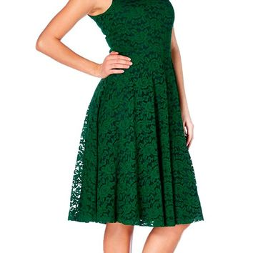 Lace Flare Dress in Green | Blame Betty