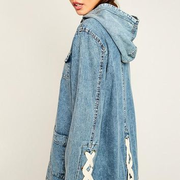 Lace-Up Denim Utility Jacket