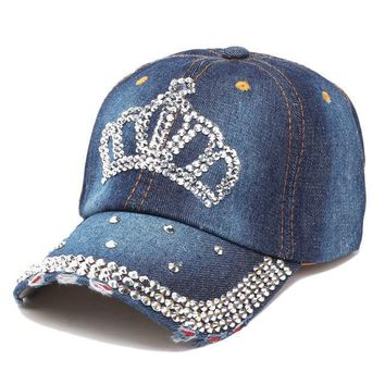 """Hat""Adjustable Women Lady Rhinestone-Crystal Baseball Caps Bling"