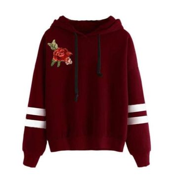 Women's Burgundy Red with Striped Sleeve Rose Applique Long Sleeve Hoodie Sweat Shirt