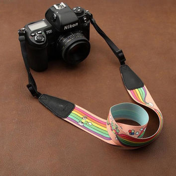 Cartoon Series Color DSLR Strap Handmade Leather Camera Strap 8723