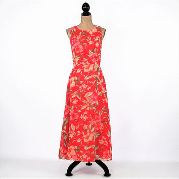 Sleeveless Floral Dress Women Medium Long Chiffon Dress Maxi Dress Coral Size 8 Dress Coldwater Creek Vintage Clothing Womens Clothing