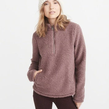 Womens Half-Zip Sherpa Pullover | Womens New Arrivals | Abercrombie.com