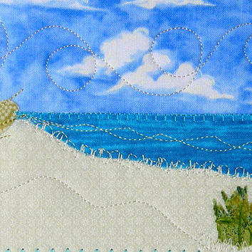 Fabric Postcard, Beach Quilted Postcard, Blue Water, Ocean Landscape, Beach Landscape, Coast and Sand, Greeting Card Palm Tree