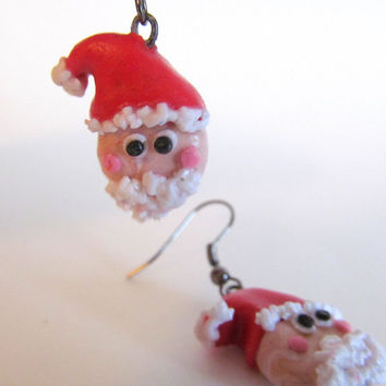 Polymer Clay Earrings - Polymer Clay Christmas - Santa Earrings