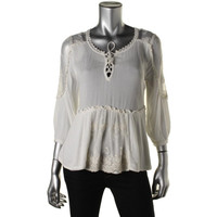 Free People Womens Lace 3/4 Sleeves Peplum Top