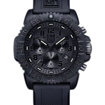 Luminox Mens Colormark Chrono Black-Out - Black Dial and Rubber Strap