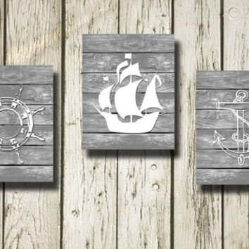 Sterling Ship Anchor Set of 3 Printable Instant Download on Gray Wood Poster Kids Room Decor Wall Art Home Decor KR031-32-54